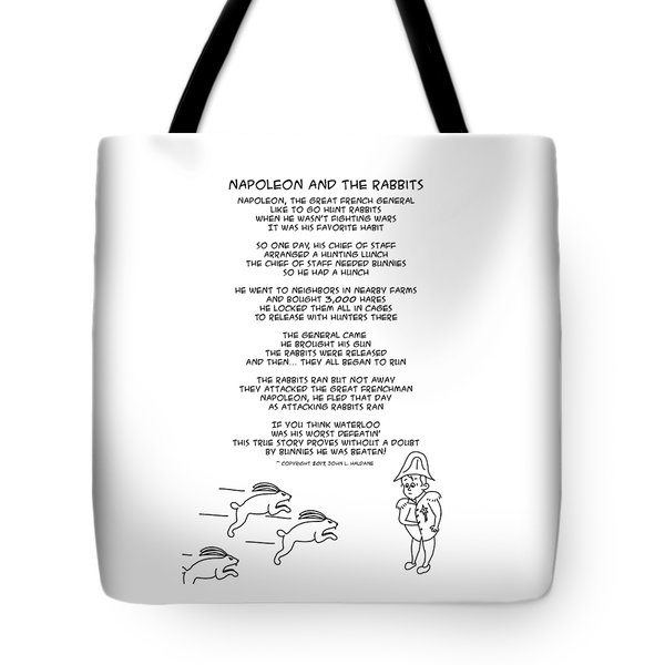 Tote Bag featuring the drawing Napoleon And The Rabbits by John Haldane