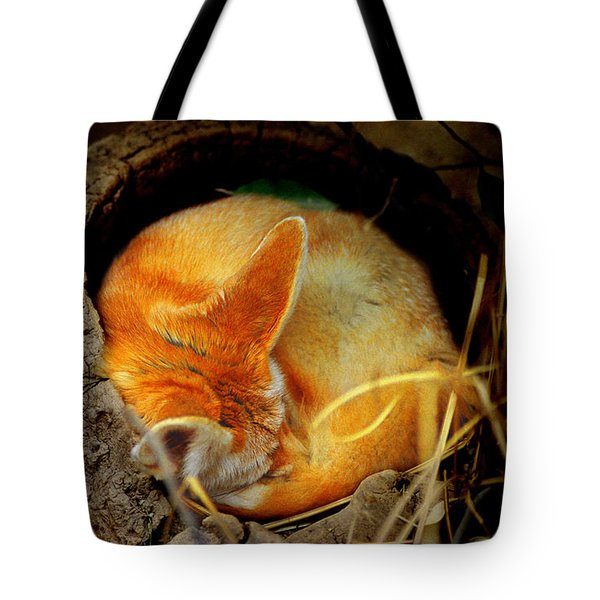 Napping Fennec Fox Tote Bag by Greg Slocum