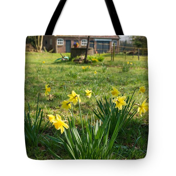 Tote Bag featuring the photograph Narcissus Flowers by Hans Engbers