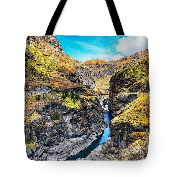 Narrow River In Mountains Tote Bag