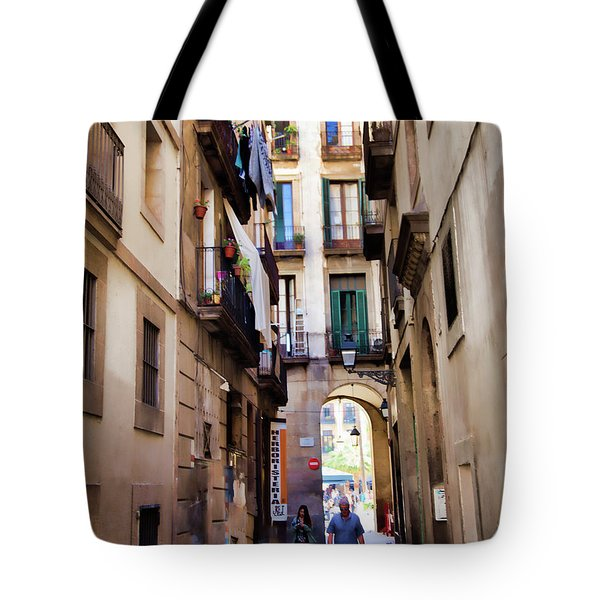 Narrow Street Barcelona Gothic Quarter People Street Tote Bag