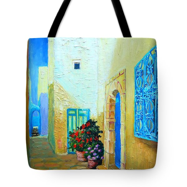 Tote Bag featuring the painting Narrow Street In Hammamet by Ana Maria Edulescu