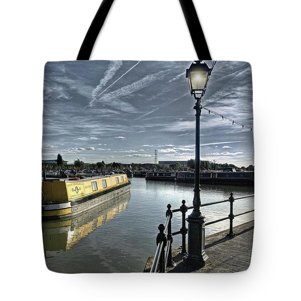 Narrowboat Idly Dan At Barton Marina On Tote Bag by John Edwards