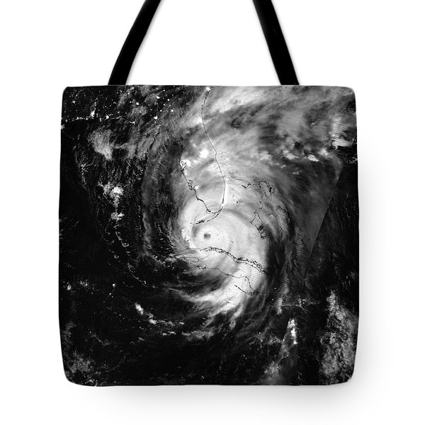 Nasa Hurricane Irma Between Cuba And Florida Satellite Image Tote Bag
