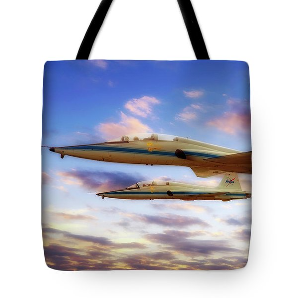 Tote Bag featuring the photograph Nasa T-38 Talons At Sunrise - Pilot - Airplanes by Jason Politte