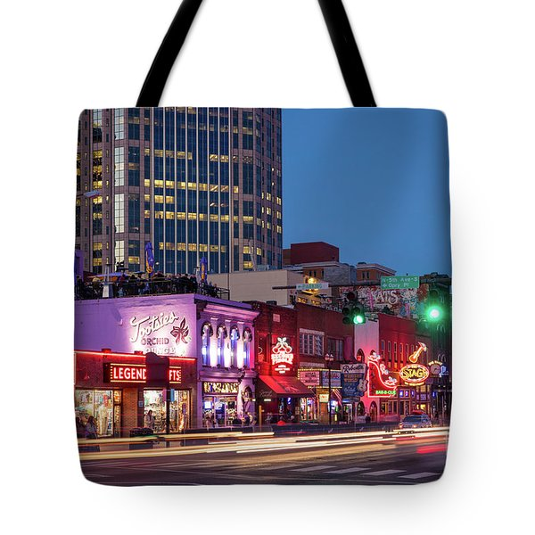 Tote Bag featuring the photograph Nashville - Broadway Street by Brian Jannsen
