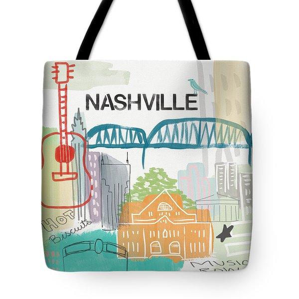 Nashville Cityscape- Art By Linda Woods Tote Bag