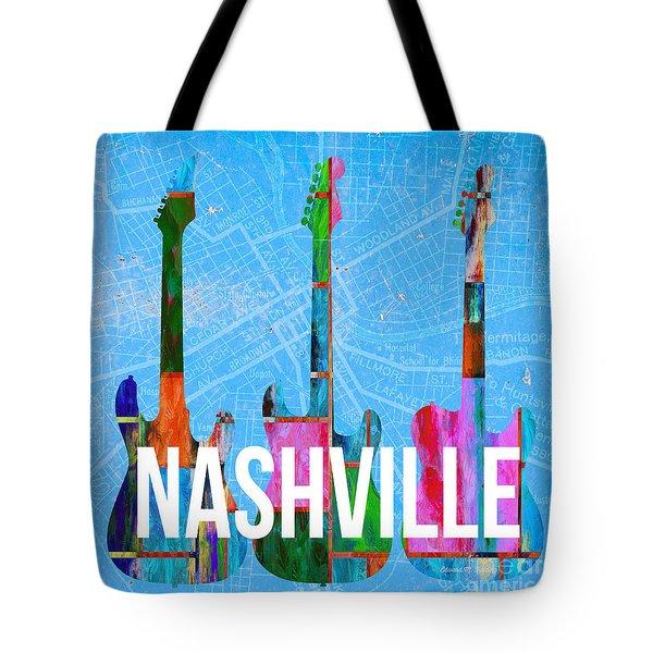 Nashville Guitars Music Scene Tote Bag