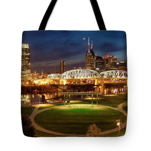 Tote Bag featuring the photograph Nashville Twilight Skyline by Brian Jannsen