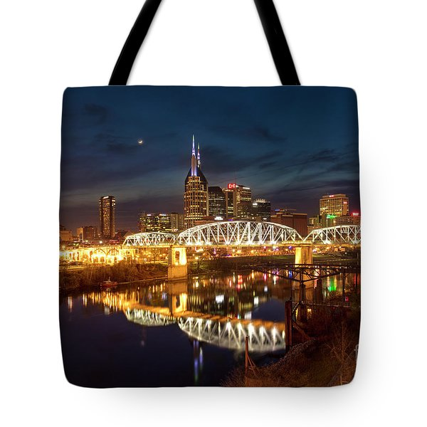Tote Bag featuring the photograph Nashville Twilight Skyline II by Brian Jannsen