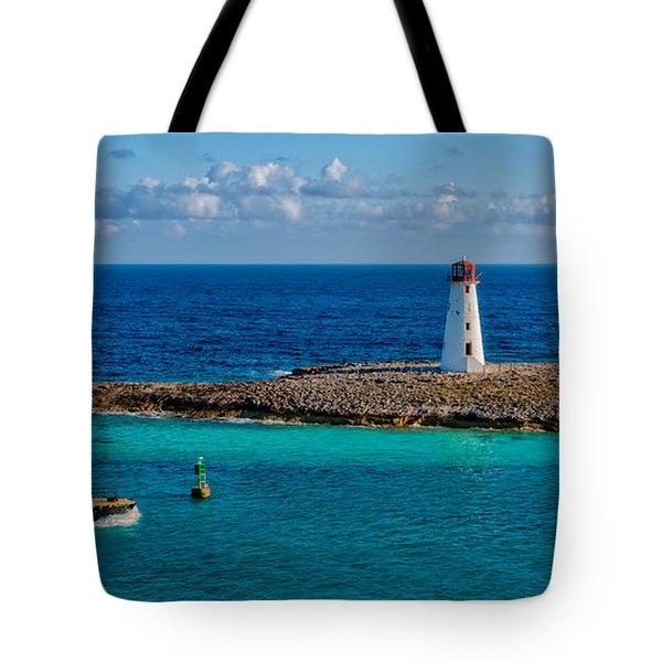 Nassau Harbor Lighthouse Tote Bag by Christopher Holmes
