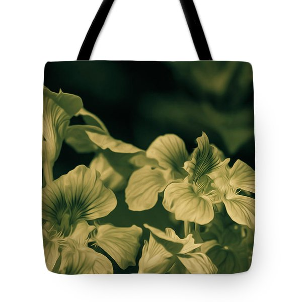 Tote Bag featuring the photograph Nasturtium Black And White by Keith Smith