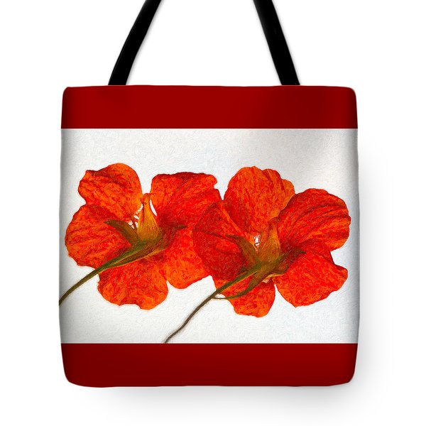 Nasturtiums On White Tote Bag