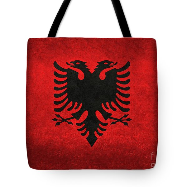Tote Bag featuring the digital art National Flag Of Albania With Distressed Vintage Treatment  by Bruce Stanfield