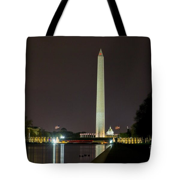 Tote Bag featuring the photograph National Mall At Night by Angela DeFrias