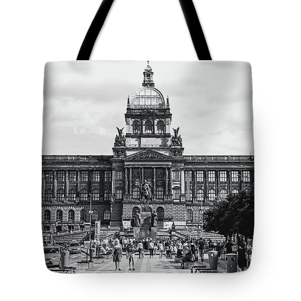 Tote Bag featuring the photograph National Museum At Wenceslas Square. Prague by Jenny Rainbow