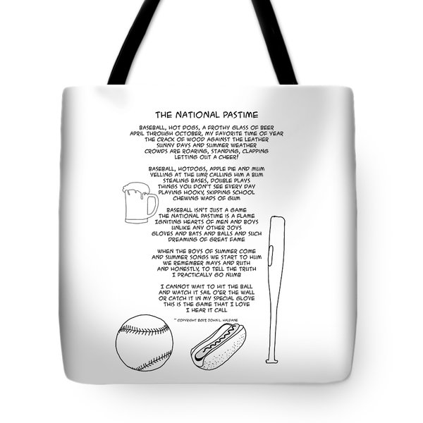 Tote Bag featuring the drawing National Pastime by John Haldane