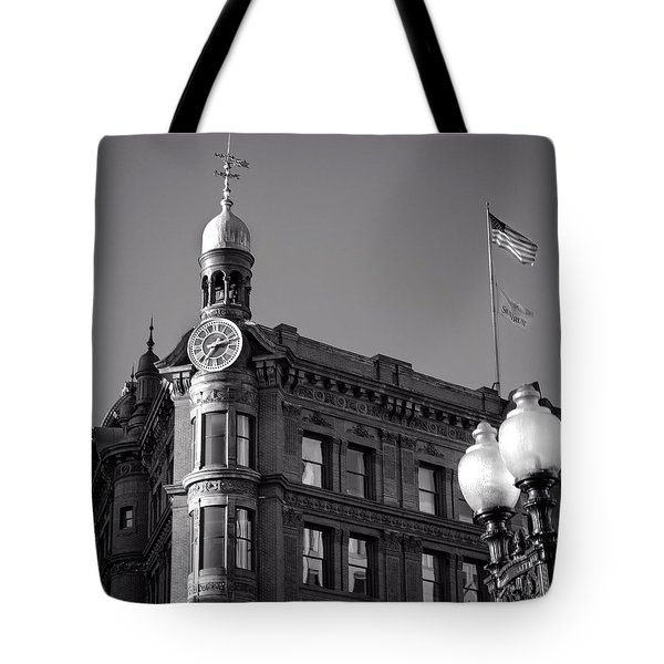 National Savings And Trust Company In Black And White Tote Bag by Greg Mimbs