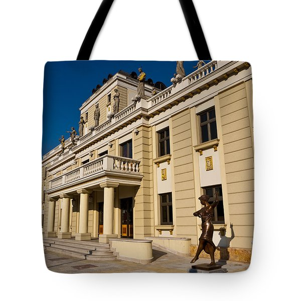 National Theater In Skopje Tote Bag by Rae Tucker