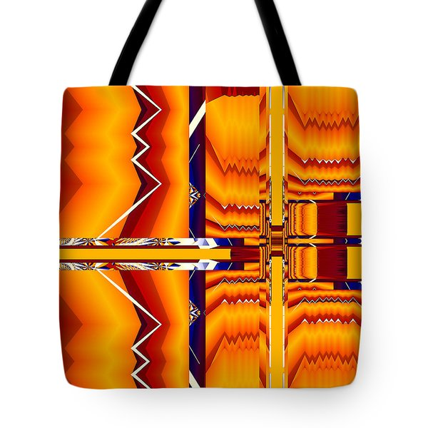 Tote Bag featuring the digital art Native Abstract by Fran Riley