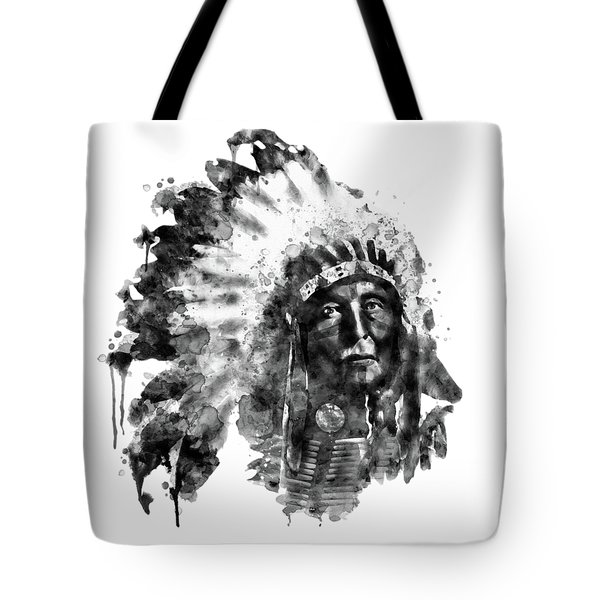 Tote Bag featuring the mixed media Native American Chief Black And White by Marian Voicu