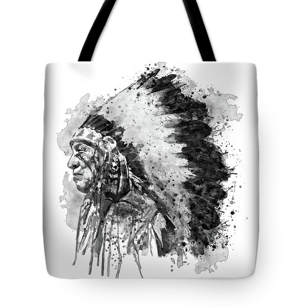 Tote Bag featuring the mixed media Native American Chief Side Face Black And White by Marian Voicu