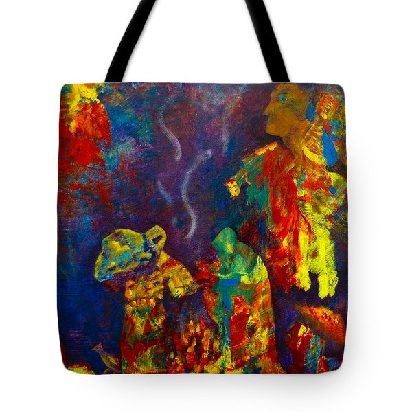 Tote Bag featuring the painting Native American Fire Spirits by Claire Bull