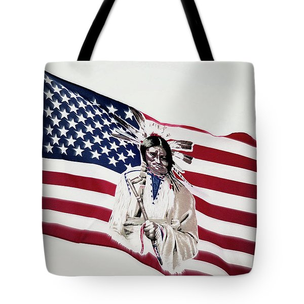 Tote Bag featuring the photograph Native American Flag by Emanuel Tanjala