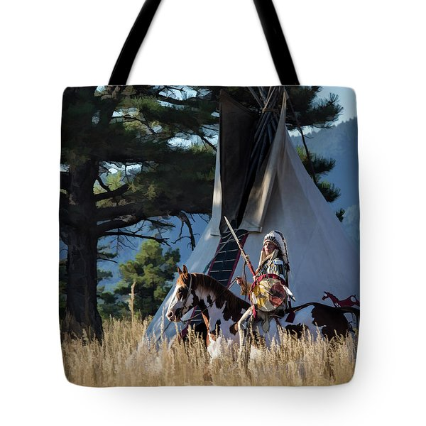 Native American In Full Headdress In Front Of Teepee Tote Bag by Nadja Rider