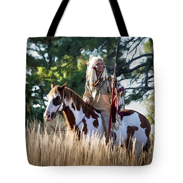 Native American In Full Headdress On A Paint Horse Tote Bag