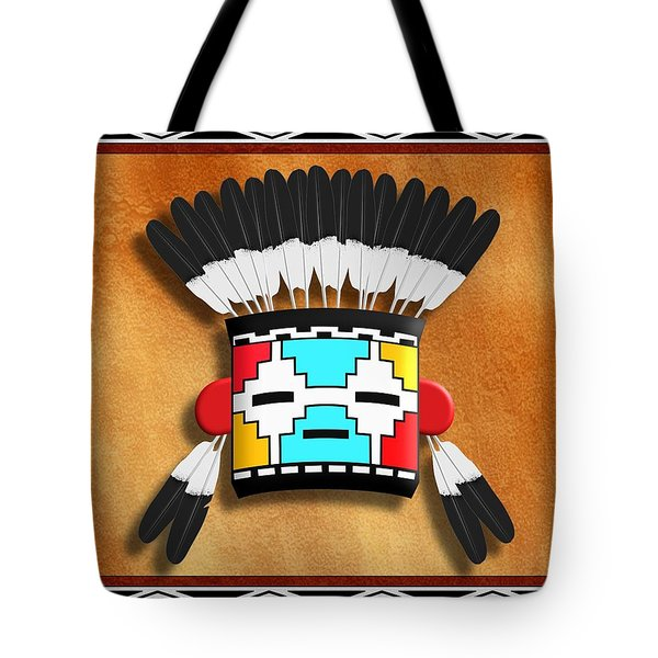 Tote Bag featuring the digital art Native American Indian Kachina Mask by John Wills