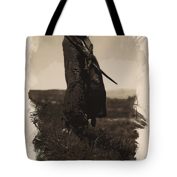 Native American Indian Portrait Profile Series - A Grizzly Bear Brave No 5 Tote Bag