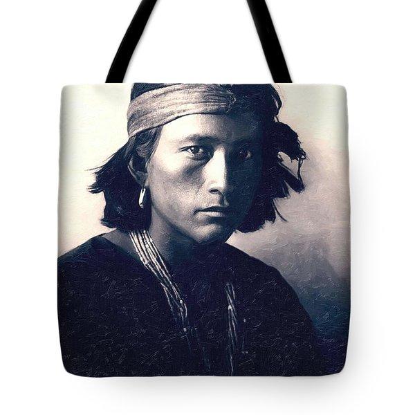 Native American Indian Portrait Profile Series - Navajo Boy Tote Bag