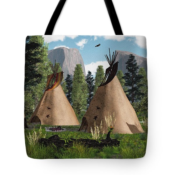 Native American Mountain Tepees Tote Bag by Walter Colvin