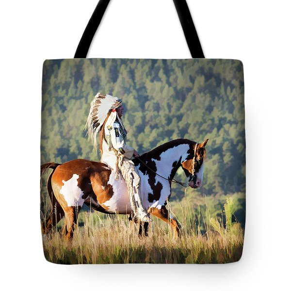 Native American On His Paint Horse Tote Bag by Nadja Rider
