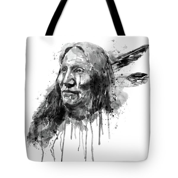 Tote Bag featuring the mixed media Native American Portrait Black And White by Marian Voicu