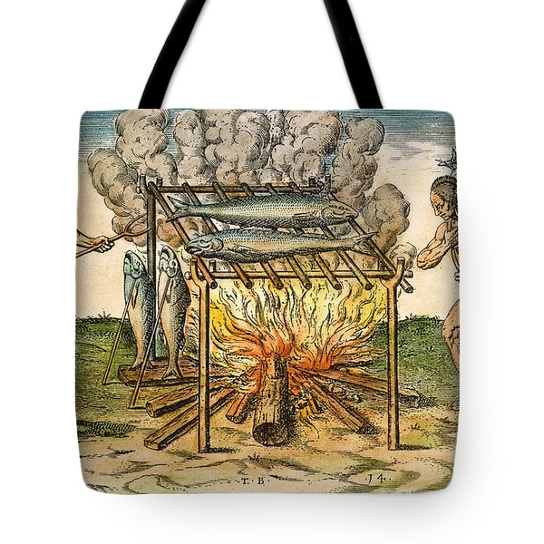 Native Americans: Barbecue, 1590 Tote Bag by Granger