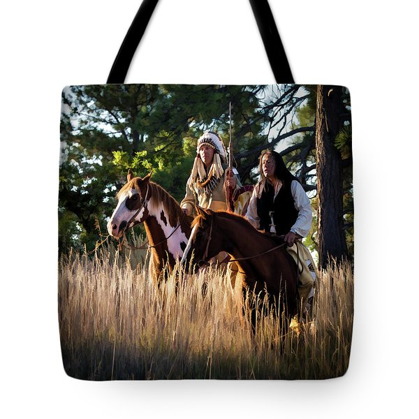 Native Americans On Horses In The Morning Light Tote Bag by Nadja Rider