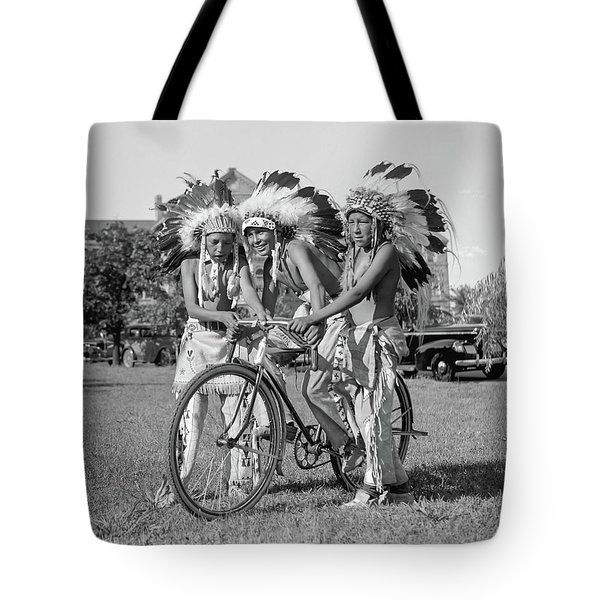 Native Americans With Bicycle Tote Bag