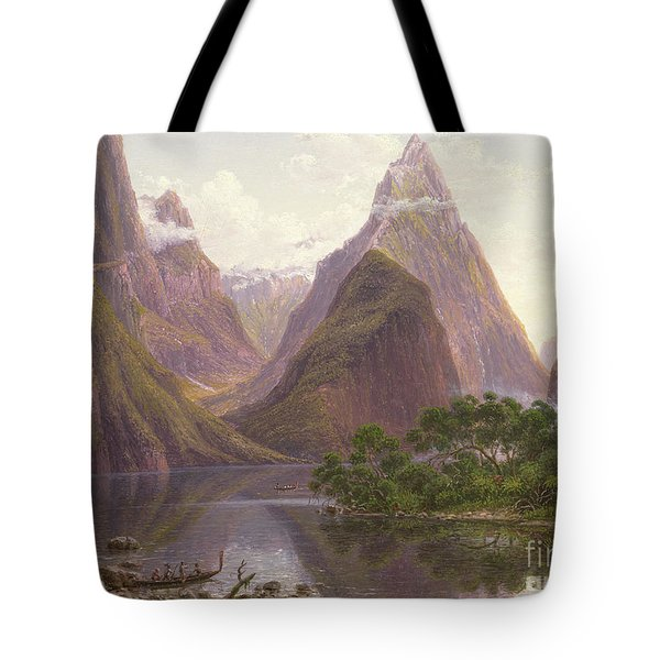 Native Figures In A Canoe At Milford Sound Tote Bag by Eugen von Guerard