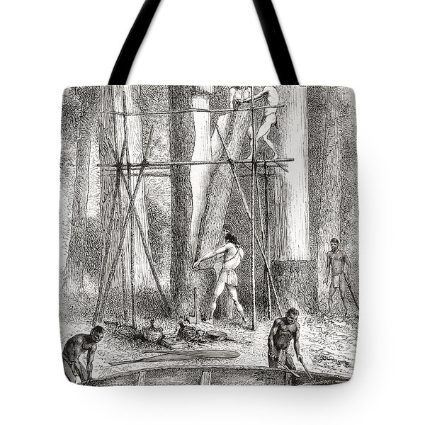 Native Indians Building A Canoe Tote Bag