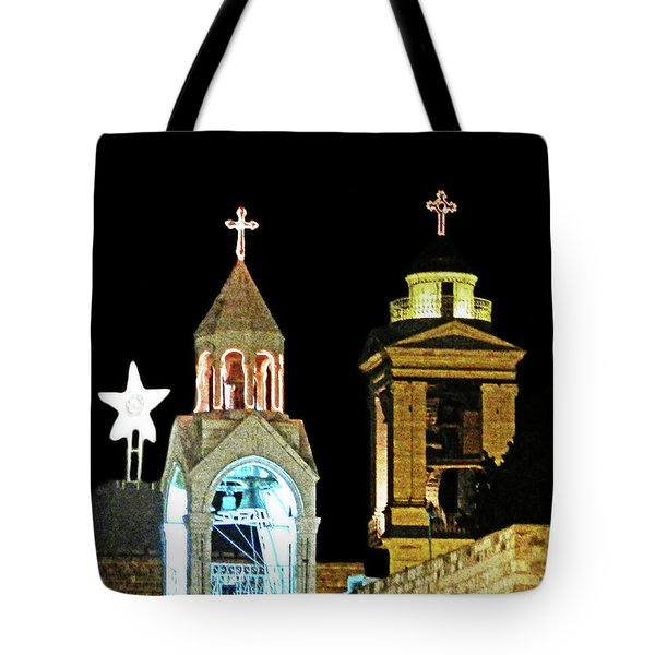 Tote Bag featuring the photograph Nativity Church Lights by Munir Alawi