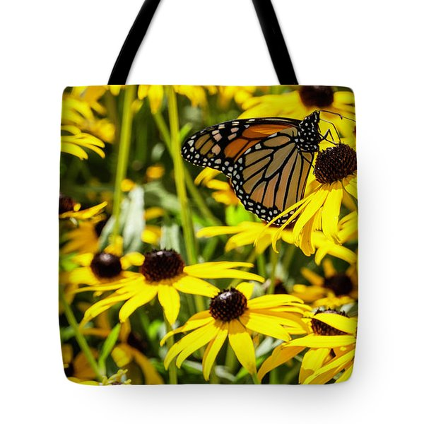 Monarch Butterfly On Yellow Flowers Tote Bag
