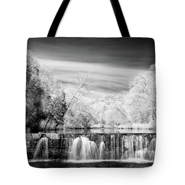 Tote Bag featuring the photograph Natural Dam Film Noir by James Barber