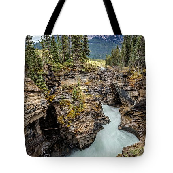 Natural Flow Of Athabasca Falls Tote Bag by Pierre Leclerc Photography