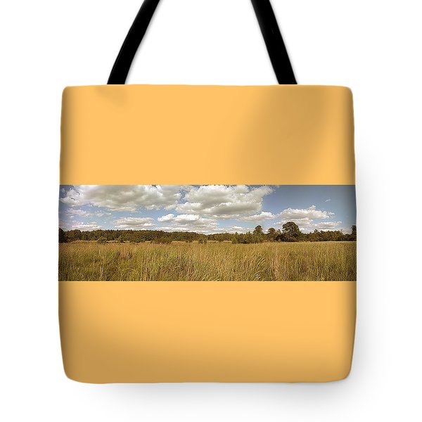 Natural Meadow Landscape Panorama. Tote Bag