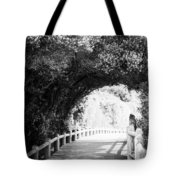 Tote Bag featuring the photograph Nature Boardwalk Black And White by Tim Hester