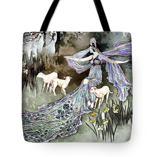Tote Bag featuring the digital art Nature Goddess by Pennie McCracken