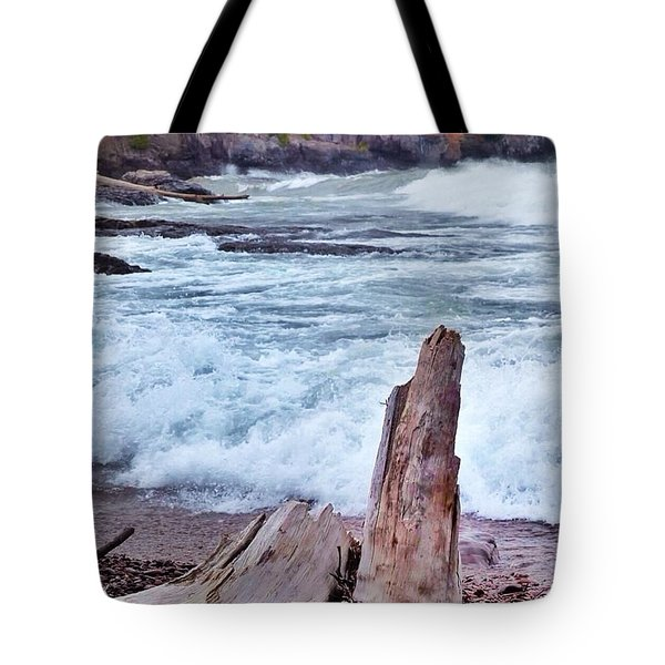 Waves On Lake Superior Tote Bag by Laurie Gresch