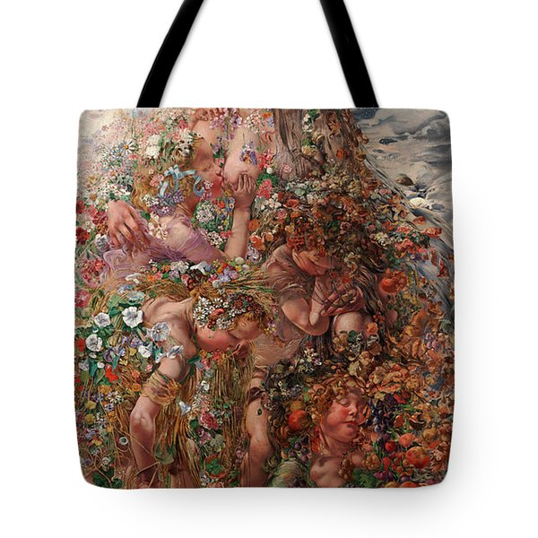 Tote Bag featuring the painting Nature Or Abundance by Leon Frederic